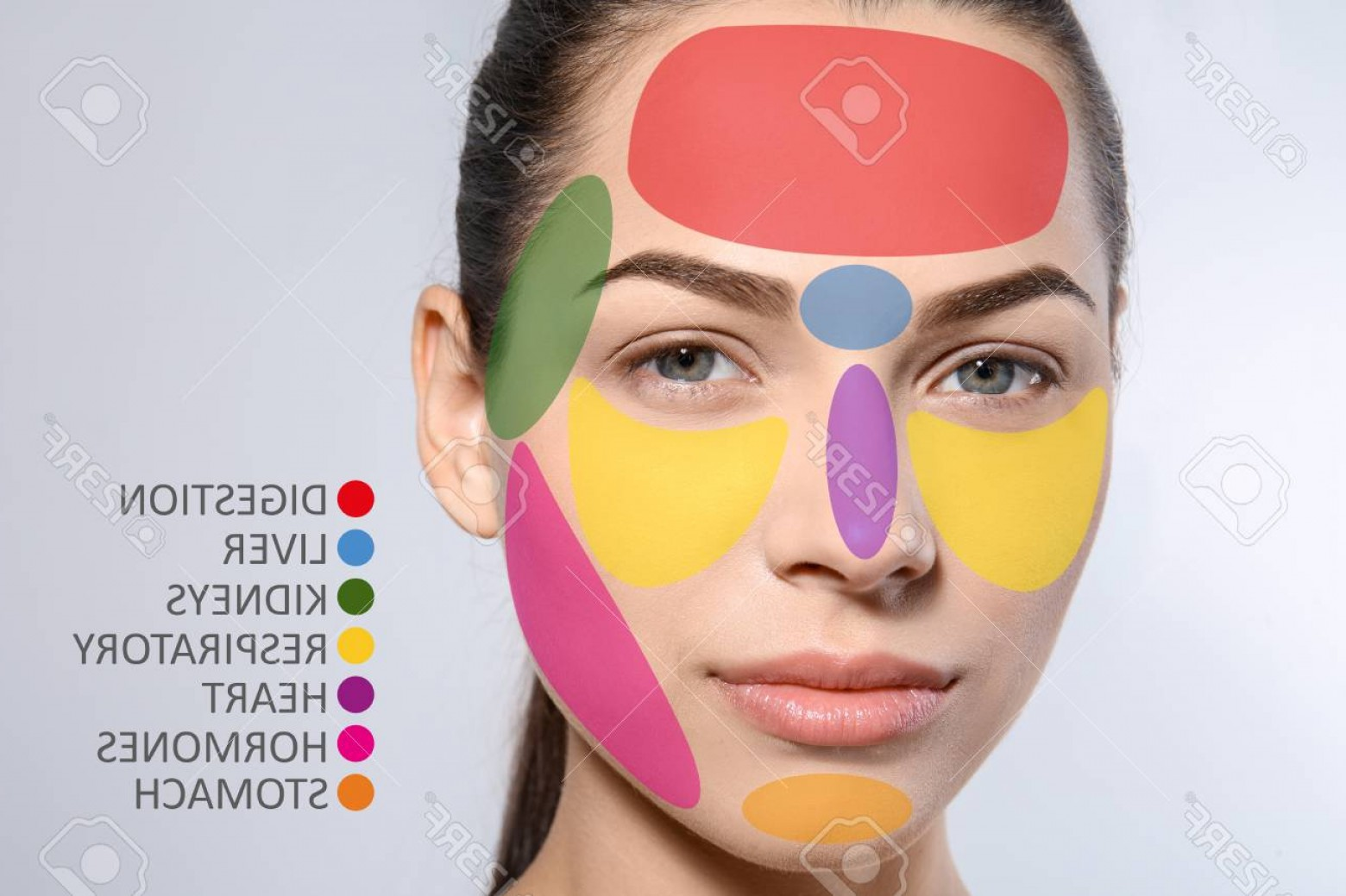 Vector Face Mapping: Photoyoung Woman With Acne Face Map On Grey Background Skin Care And Beauty