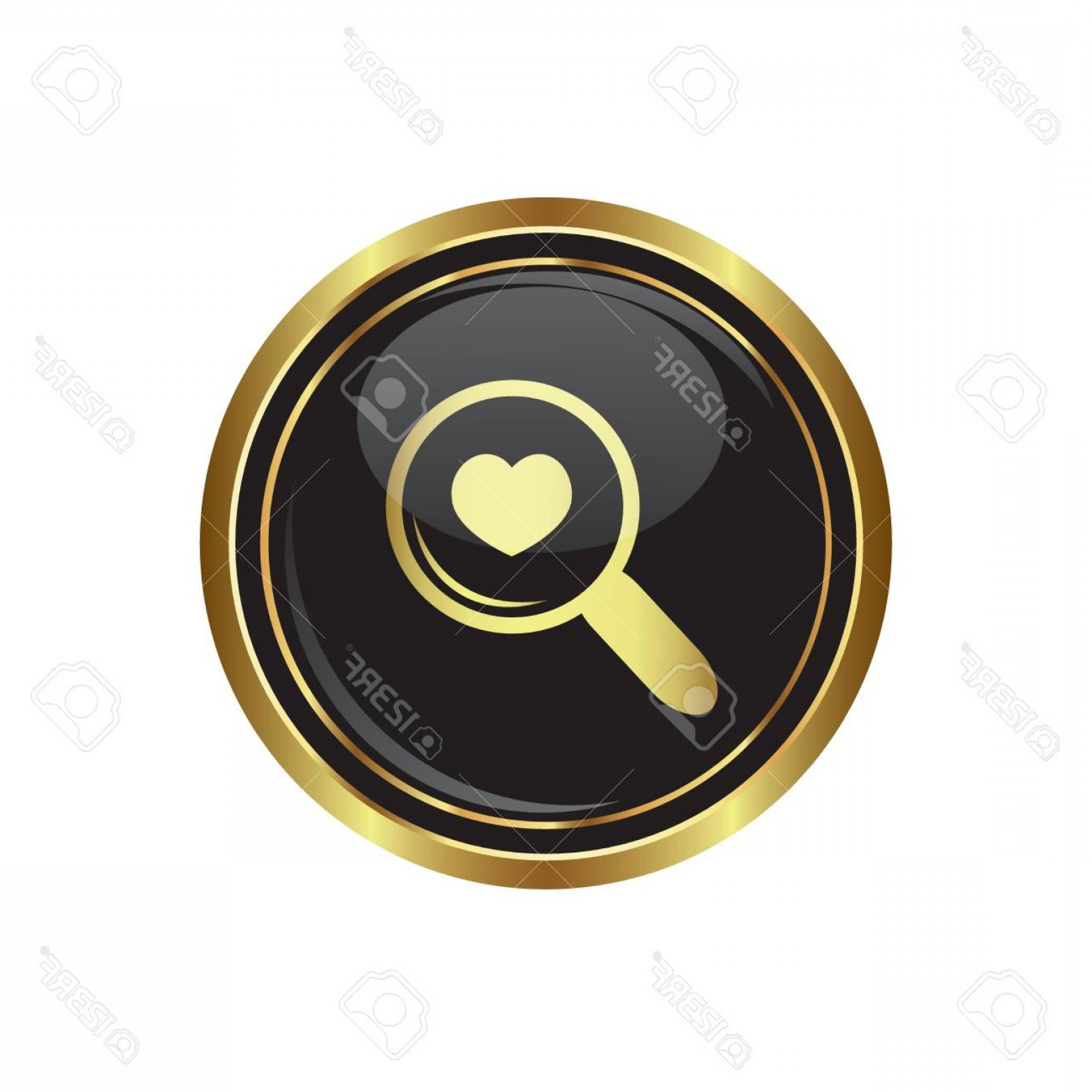 Gold Button Vector: Photozoom Icon With Heart On Black With Gold Button Vector Illustration