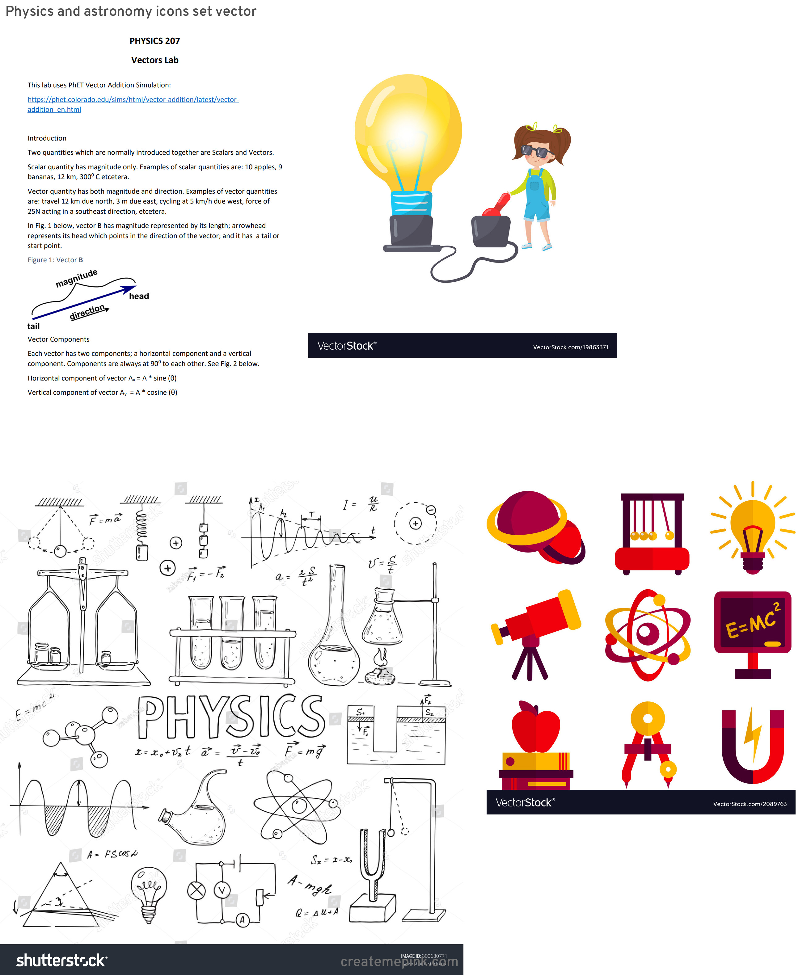 Vectors Physics Lab: Physics And Astronomy Icons Set Vector