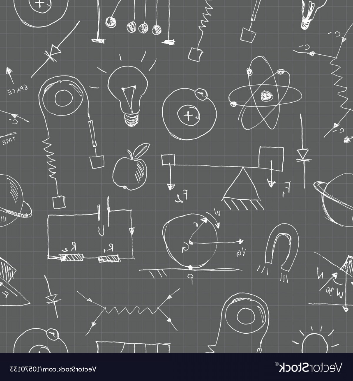 Graphing Vectors Physics: Physics Doodles Seamless Pattern Vector