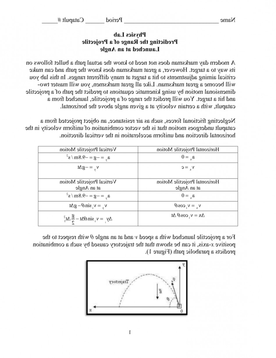 Projectile Motion Velocity Vector: Physics Lab Predicting The Range Of A Projectile Launched