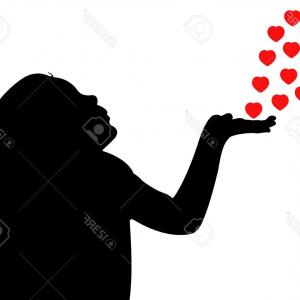 Vector Silhouette Love: A Black And White Silhouette Of A Couple In Love Gm