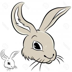 Animated Bunny Face Vector: Cute Rabbit Cartoon Sweet Animal Funny Vector