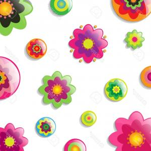 Cartoon Flowers Vector: Photobackground With Cartoon Flowers Vector Illustration