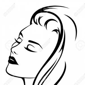 Girl Face Vector Art Black And White: Black Line Art Woman Face Vector