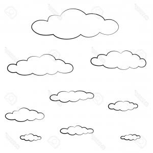 Cloud Outline Vector Black And White: Cloud With Rain Drops Icon Outline Style Gm