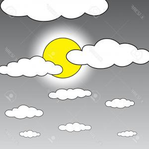 Cloud Outline Vector Black And White: Photoblack Outline Vector Moon And Cloud On White Background
