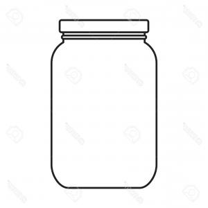Mason Jar Outline Vector: Line Middle Mason Glass With Wire Handle Vector