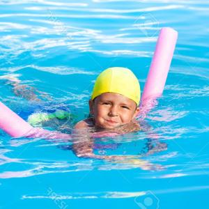 Vector Pool Noodle: Photoboy Learns How To Swim With Pool Noodle In Swimming Pool During Summer