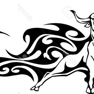 Taurus Vector: Black And White Zodiac Horoscope Astrology Taurus Bull Circle Design