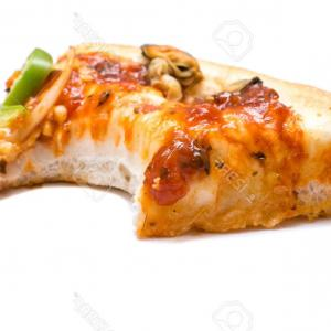 Missing A Pepperoni Pizza Slice Vector: Photocut Off Slice Of Pizza With A Missing Bite Over White
