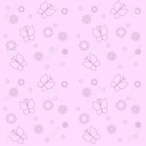Flowers And Butterflies Vector: Photocute Pink Background With Flowers And Butterflies Vector