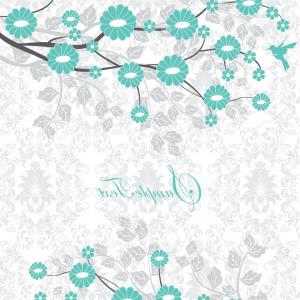 Turquoise Flower Vector: Isolated Abstract Turquoise Color Flower Vector