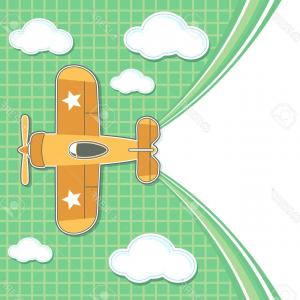 Vector Airplane Clouds: Photofunny Airplane Toy Cartoon With Blank Contrail For Copy Space On Green Background And Clouds