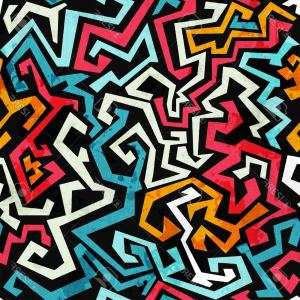 Graffiti Lines Vector: Photograffiti Curves Seamless Pattern With Grunge Effect
