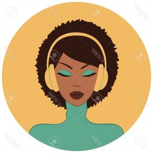 Black Woman Stock Vector: Photoillustration Of A Beautiful African American Woman Listening To Music