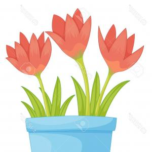 Flower Pot Vector Graphics: Photoillustration Of A Pot Of Flowers