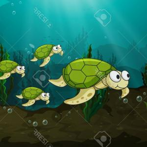 Lake Turtle Vector: A Happy Turtle Above The Floating Waterlily Vector