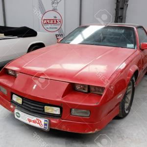 Vector Motor Cars 1989: Photokharkiv Ukraine May Retro Car Red Chevrolet Camaro Manufactured In Is Presented At The