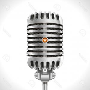 Vector Retro Chrome: Photoold Microphone Realistic Illustration Of Retro Chrome Microphone Of The Last Century