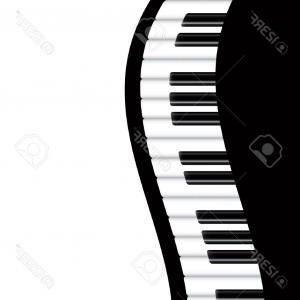 Musical Keyboard Vector: Piano Keyboard Black White Vector Sketch