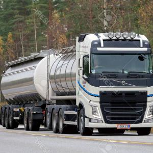 Volvo FH Vector: Editorial Image New Volvo Fh Trucks Transported Semi Trailer Forssa Finland December Low Floor Market Leader Finnish Image