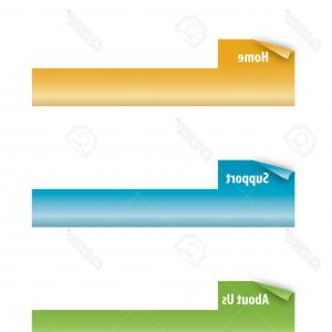 Folder Tab Vectors: Photoset Of Page Curl Tabs Vector