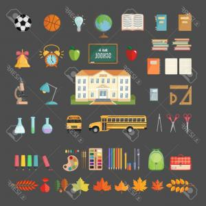 Individual School Supplies Vector: Cartoon Style Various School Supplies