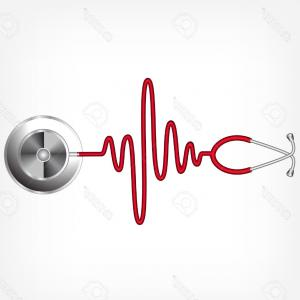 Heart Stethoscope With EKG Lines Vector: Stock Illustration Stethoscope In The Shape Of