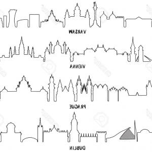 Architecture Vector: Photostock Illustration Line Art Skyline With Historic Architecture Vector Illustration Warsaw Vienna Prague And Dublin