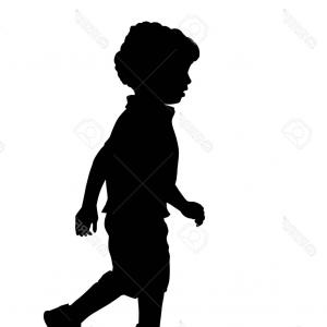 Little Boy Silhouette Vector: Running Baby Boy Silhouette Vector