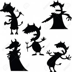 Devil Horns Silhouette Vector: Photostock Vector A Set Of Cartoon Devil Silhouettes