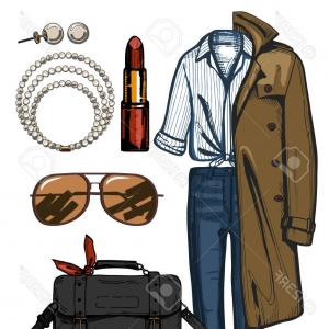 Denim And Pearls Vector: Photostock Vector A Vector Illustration Of Women Fashion Clothes Look Set Trench Coat Denim Jeans Red Lipstick Satchel