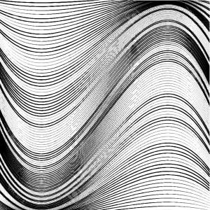 Black Abstract Lines Vector: Abstract Metallic Waves On White Background Curved Gray Lines Vector Clipart