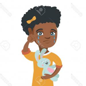 Vector Tear Away: Photostock Vector African American Girl Crying And Wiping The Tears Away Little Girl Crying And Holding Toy Rabbit In