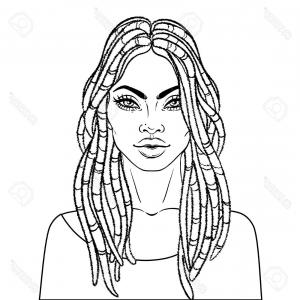 Black Woman Stock Vector: Stock Illustration Front View Portrait Of A
