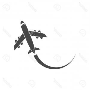 Airplane Travel Vectors: Free Vector Illustration Of Airplane Flying And Some Travel Tools