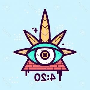 Hipster Leaf Vector: Photostock Vector All Seeing Eye Cannabis Leaf Triangle Vector Hipster Illustration