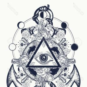 Eye Tatoo Vector: Photostock Vector All Seeing Eye Tattoo Art Freemason And Spiritual Symbols Alchemy Medieval Religion Occultism Esoter