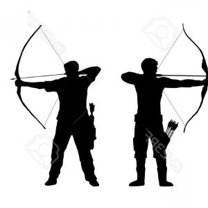 Vector Archery Silhouette: Archer Silhouette Black White Drawing Background