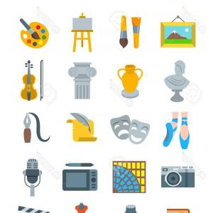Flat Vector Art: Photostock Vector Art And Crafts Flat Vector Icons Set Colorful Symbols Of Painting Architecture Sculpture Writing Mus