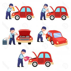 Fixing Car Vector: Auto Mechanic Fixing And Oiling A Car