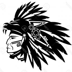 Warrior Vector Art: Photostock Vector Aztec Tribe Warrior Wearing Feather Headdress With Panther Head