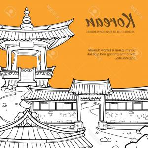 Hand Drawn Line Vector Architect: Photostock Vector Background With Korean Architecture Of Traditional Houses Illustration In Hand Drawn Style Street Tr