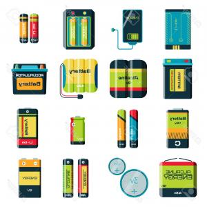 Vector Battery Charger Parts: Electric Bike Details Flat Color Icons Vector