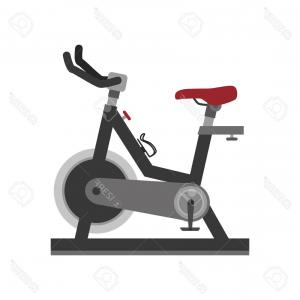Indoor Cycling Bike Vector: Gym Exercise Bike Bicycle Sport People