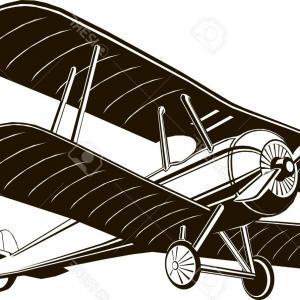 RC Plane Vector: Photostock Vector Biplane Retro Airplane Monochrome Black Graphic Clip Art Vector