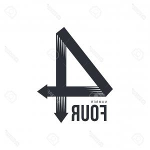 Two Arrows Vector: Photostock Vector Black And White Number Four Formed By Two Arrows Vector Illustrations Isolated On White Background B
