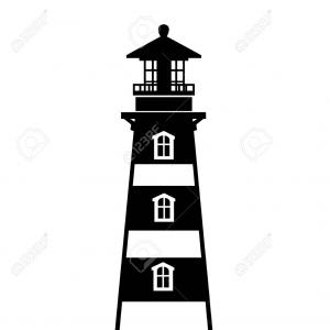 Lighthouse Silhouette Vector Logo: Photostock Vector Black Silhouette Lighthouse Building Flat Design Style Vector Illustration Isolated On White Backgro