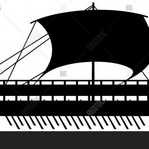 Row Boat Vector Sillohettes: Photostock Vector Black Silhouette Rowing Oar Vector Isolated Boat Oar Water Sport